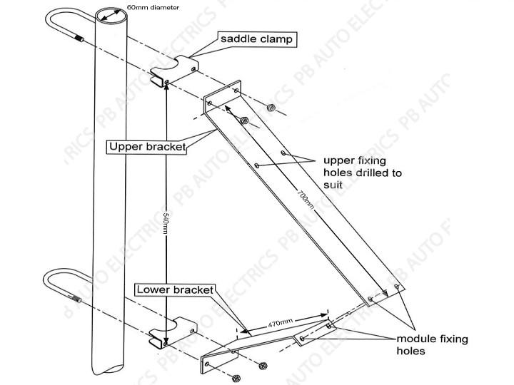 pv bracket - pole  u0026 wall mount - 5wp to 45wp - fka10
