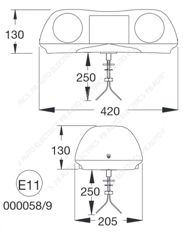britax mini halogen lightbar ece r65  u2013 a421 00 12v