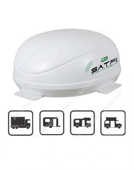 Satfi RV – EU Capable Fully Automatic High Gain Dome with QuadSat – Twin LNB – 17-01-005-0