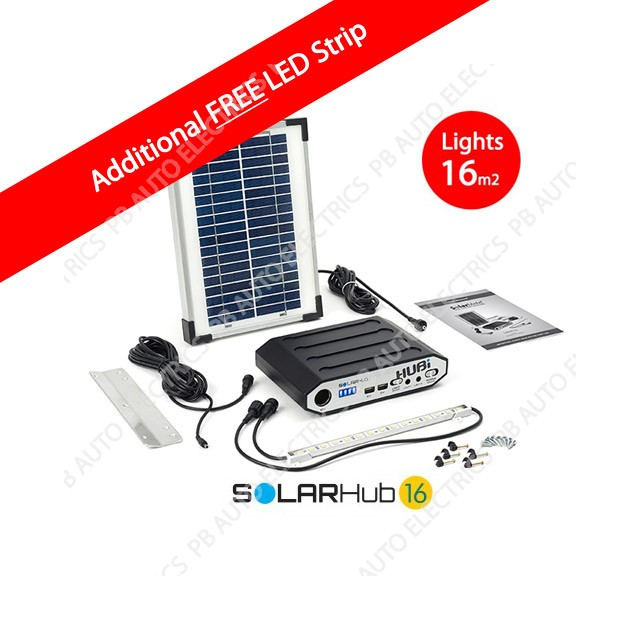 Solar Hub 16 LED Lighting Kit For Single Rooms 16sqm additional FREE LED Strip - SMH001PB