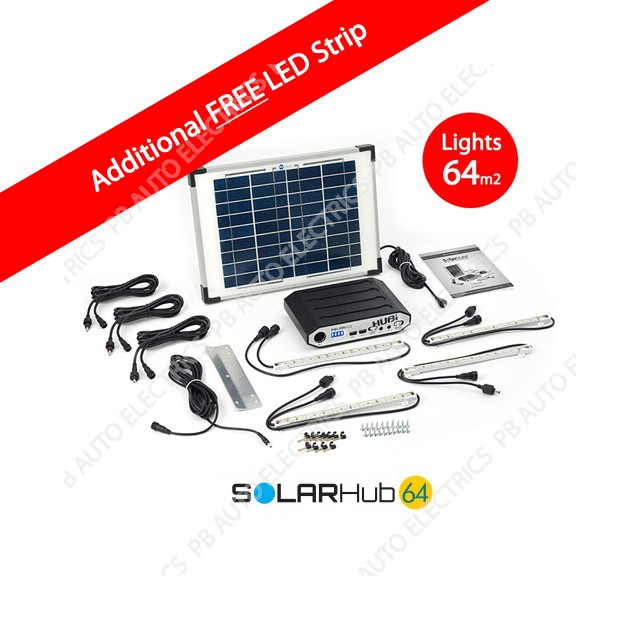 Solar Hub 64 LED Lighting Kit For Single Multiple Rooms up to 64sqm with additional FREE LED Strip- SMH002PB