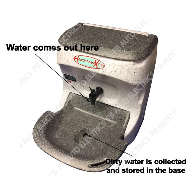 Teal Handeman Xtra Handwash Sink 12v 220watt 18amp Voltage Sensing Unit Basin