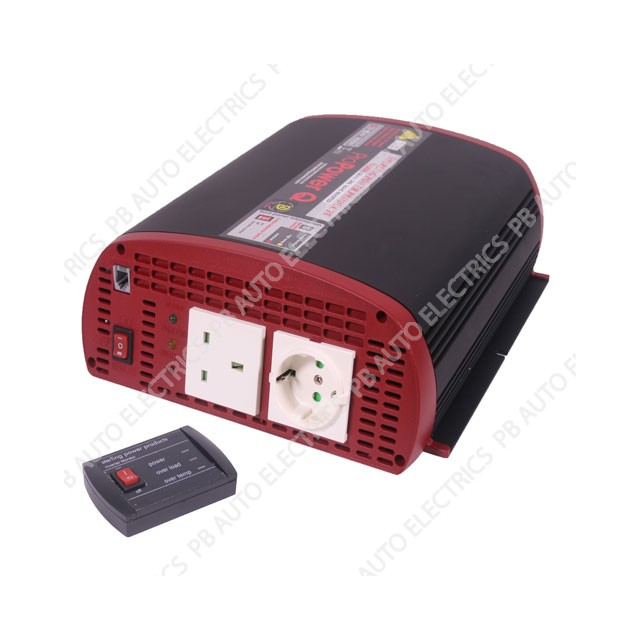 Sterling 230V Pro Power Q Inverters 12V 1000w remote control 10m cable I121000