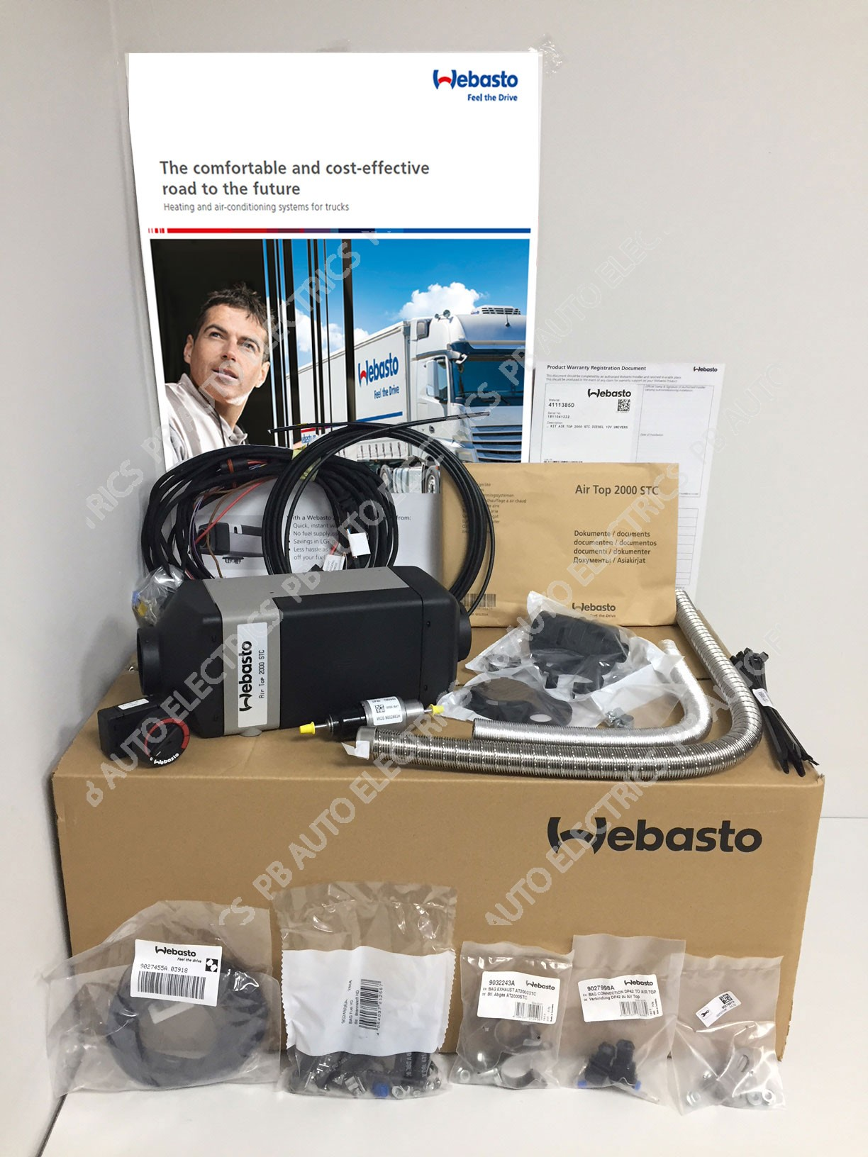 Webasto Air Top 2000 STC 24v Universal Heater Kit Diesel Rotary Control & 1 Outlet Ducting Kit - 4111386B/1