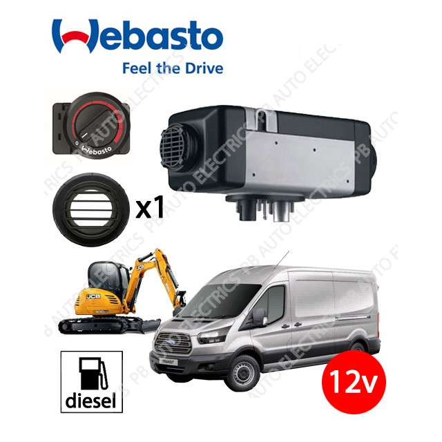 Webasto Air Top 2000 STC 12v Universal Heater Kit Diesel Rotary Control & 1 Outlet Ducting Kit – 4111385C/1