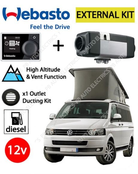 Webasto Air Top 2000 STC VW External Mount Air Heater Kit Diesel 12v RV MultiControl & 1 Outlet Ducting Kit - PB4112565G-MCRV