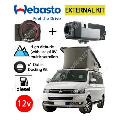 Webasto Air Top 2000 STC VW External Mount Air Heater Kit Diesel 12v Rotary Control, Installation & 1 Outlet Ducting Kit - 4112565G