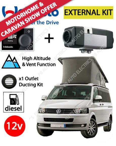 Webasto Air Top 2000 STC VW External Mount Air Heater Kit Diesel 12v RV MultiControl & 1 Outlet Ducting Kit - PB4112565G-MCRV