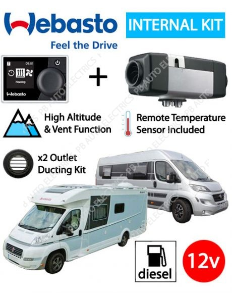 Webasto Air Top 2000 STC Motorhome RV Air Heater Diesel 12v RV MultiControl Internal Mount Kit & 2 Outlet Ducting Kit - 4114763C-RVMC-2