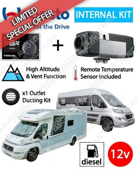 Webasto Air Top 2000 STC Motorhome RV Air Heater Diesel 12v RV MultiControl Internal Mount Kit & 1 Outlet Ducting Kit