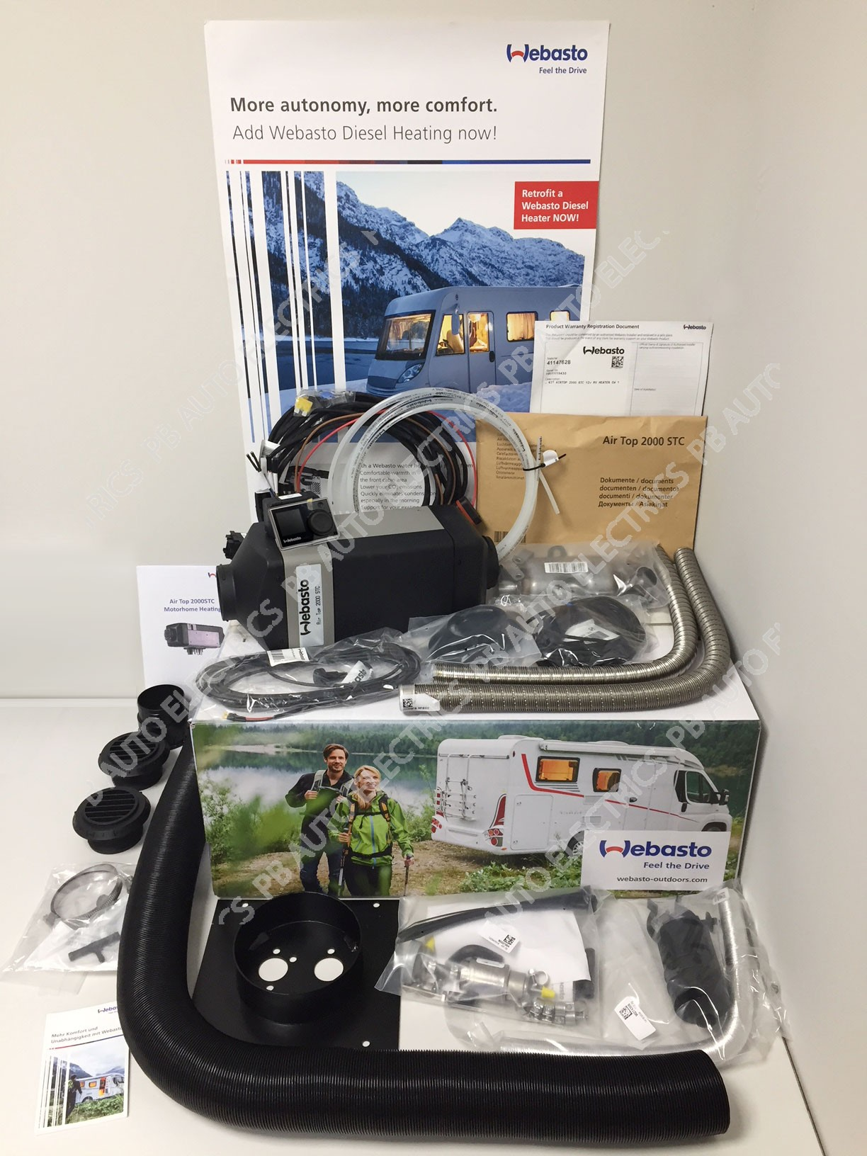 Webasto Air Top 2000 STC Motorhome RV Air Heater Diesel 12v RV MultiControl Internal Mount Kit & 1 Outlet Ducting Kit - 4114762C/RVMC/1