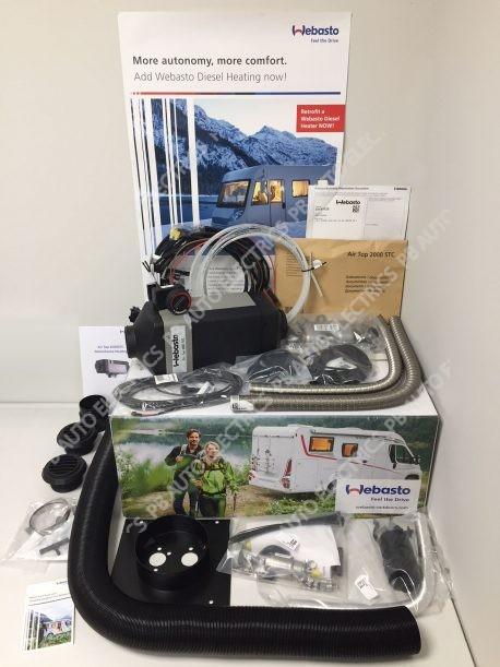 Webasto Air Top 2000 STC Motorhome RV Air Heater Kit Diesel 12v Rotary Control Internal Mount & 1 Outlet Ducting Kit - 4114762C