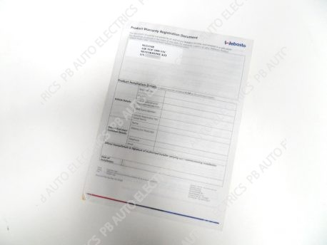 Webasto Warranty Document Example