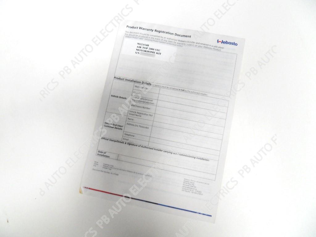 Webasto Warranty Document Example
