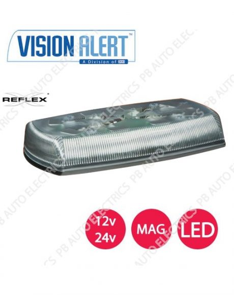 Vision Alert Dual Voltage Reflex LED Magnetic Clear Minibar 12/24v - 5580CA-VAMAG