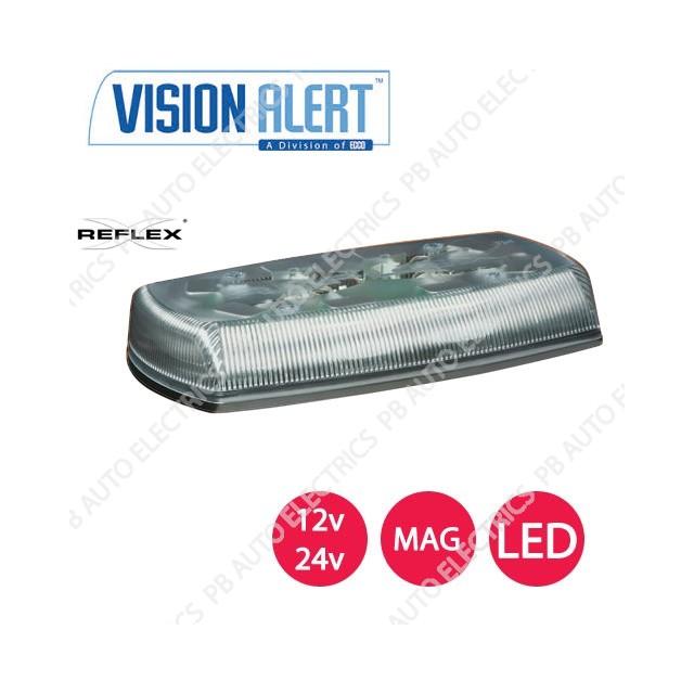 Vision Alert Dual Voltage Reflex LED Magnetic Clear Minibar 12/24v - 5580CA-VAMAG