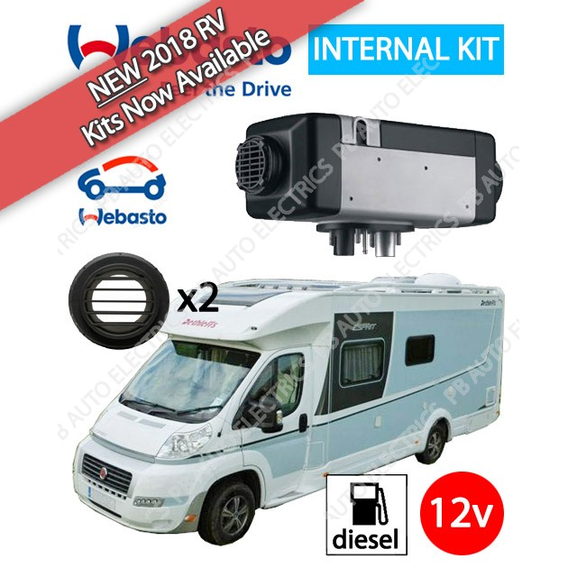 NEW 2018 Webasto Air Top 2000 STC Motorhome RV Air Heater Diesel 12v TC04 ThermoCall Internal Mount & 2 Outlet Ducting Kit - 4114763C-TC-2