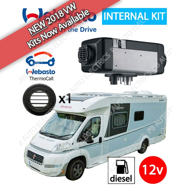 Webasto Air Top 2000 STC Motorhome RV Air Heater Diesel 12v TC04 ThermoCall Internal Mount & 1 Outlet Ducting Kit