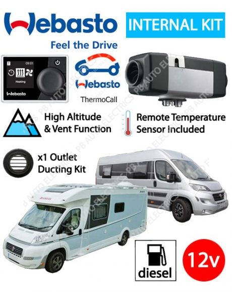 Webasto Air Top 2000 STC Motorhome RV Air Heater Diesel 12v Multicontrol & ThermoCall Internal Mount 1 Outlet Ducting Kit - 4114762C-TC-1