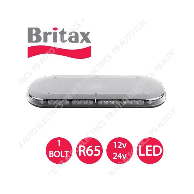 Britax A550 Series Amber LEDs Clear Lens R65 1 Bolt Minibar 12/24v - A551.00.LDV