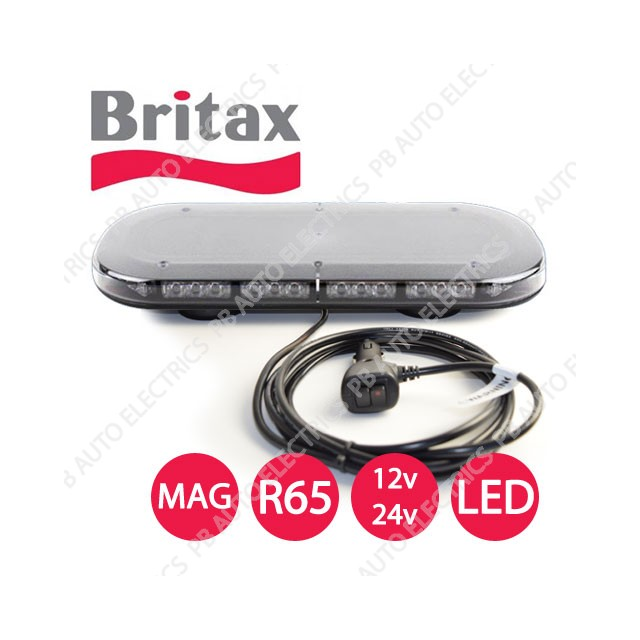 Britax A550 Series Clear Lens Amber LEDS R65 400mm, Minibar Magnetic on