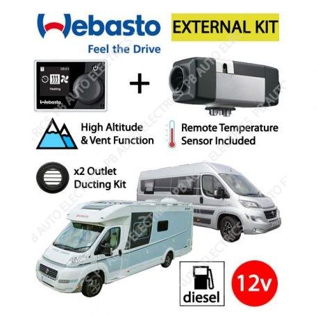 Webasto Air Top 2000 STC Motorhome RV Air Heater Diesel 12v RV MultiControl External Mount Kit & 2 Outlet Ducting Kit - 4114763C-RVMC-EXT-2