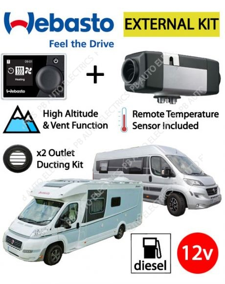 Webasto Air Top 2000 STC Motorhome RV Air Heater Diesel 12v RV MultiControl External Mount Kit & 2 Outlet Ducting Kit - 4114763C-RVMC-EXT-2
