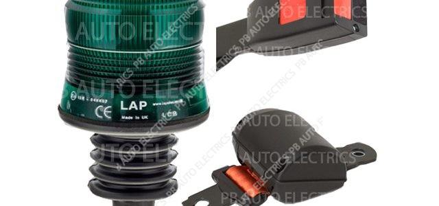 Securon Orange Seat Belt & Green LED Flexi DIN Beacon Kit 12/24v – PBLAP100