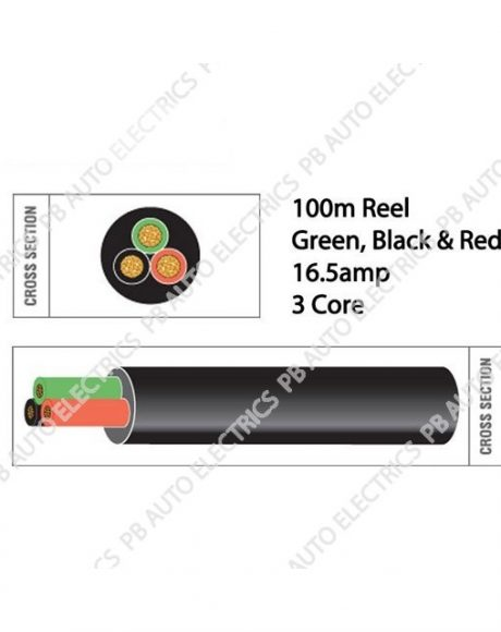 Auto Marine 100m Black Red Green Thin Wall 16.5 amp 3 Core Auto Cable Round Black – TW03/01
