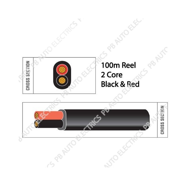 Auto Marine 100m Black & Red PVC 17.5 amp 2 Core Auto Cable Flat Twin Black – 1652B-R-B.100