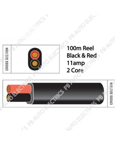 Auto Marine 100m Black & Red Thin Wall 11amp 2 Core Auto Cable Flat Twin Black Sheath – TW02/6