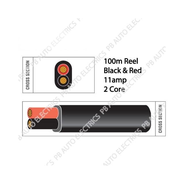 Auto Marine 100m Black & Red Thin Wall 11amp 2 Core Auto Cable Flat Twin Black Sheath – TW02/6