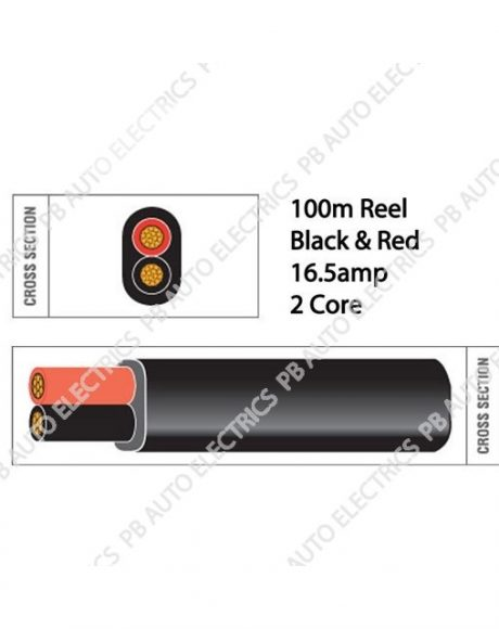 Auto Marine 100m Black & Red Thin Wall 16.5 amp 2 Core Auto Cable Flat Twin Black - TW02/01