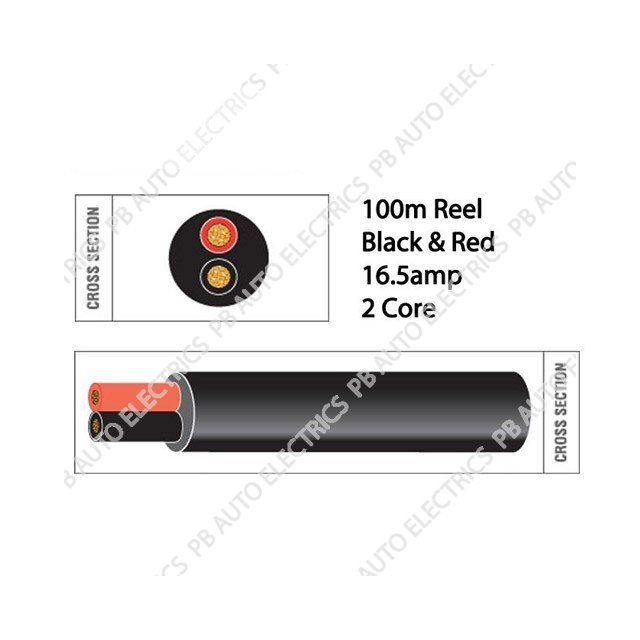 Auto Marine 100m Black & Red Thin Wall 16.5 amp 2 Core Auto Cable Round Twin Black – TW02/03