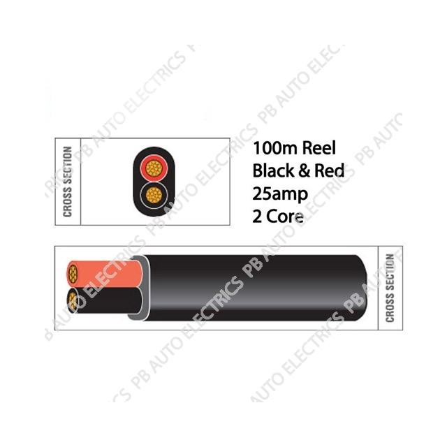 Auto Marine 100m Black & Red Thin Wall 25 amp 2 Core Auto Cable Flat Twin Black - TW02/02