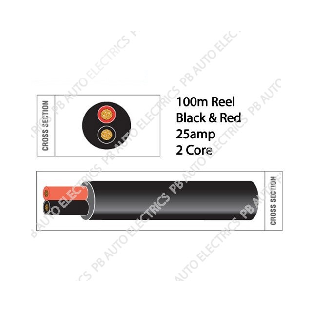Auto Marine 100m Black & Red Thin Wall 25 amp 2 Core Auto Cable Round Twin Black – TW02-24