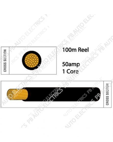 Auto Marine 100m Thin Wall 50 amp 1 Core Round Auto Cable – TW6.100