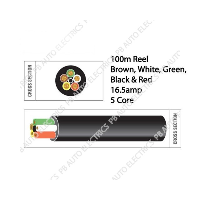Auto Marine 100m Brown Red Green White Yellow Thin 16.5amp 5 Core Auto Cable Round - TW05/01