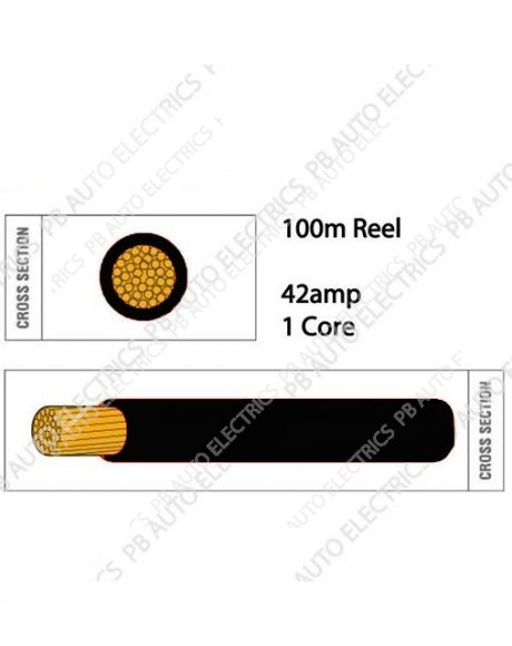 Auto Marine 100m Thin Wall 42 amp 1 Core Round Auto Cable - TW4.5.100
