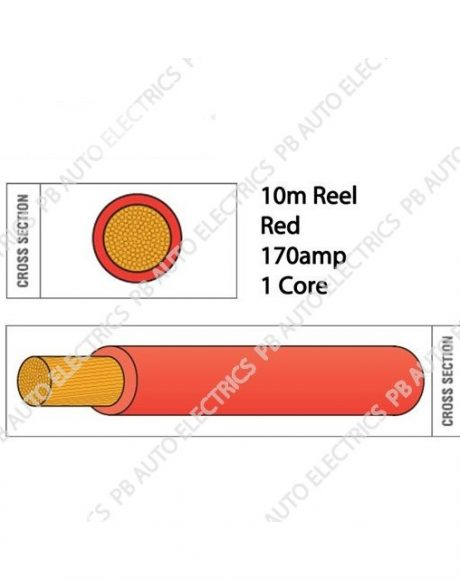 Auto Marine 10m Flexi PVC Copper 170amp 1 Core Auto Battery & Starter Cable Round RED – 934