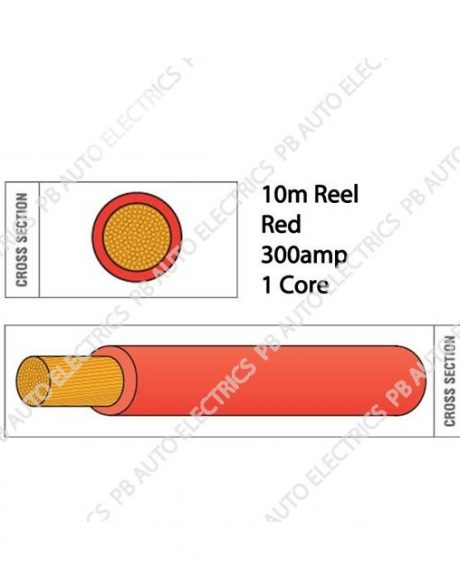 Auto Marine 10m Flexi PVC Copper 300amp 1 Core Auto Battery & Starter Cable Round RED – 935