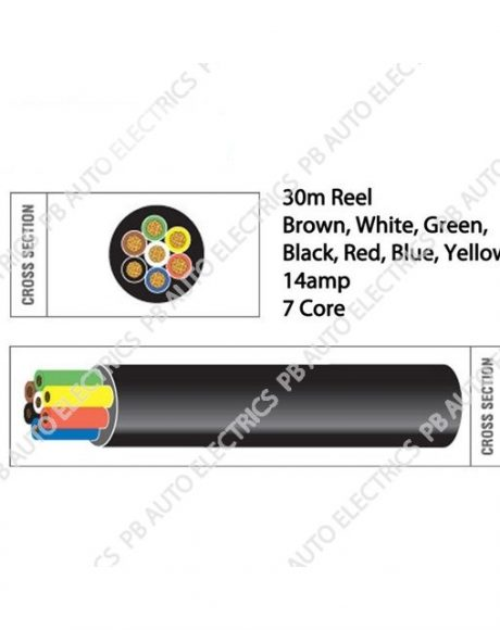 Auto Marine 30m Black Brown Red Green White Yellow Blue Thin 14amp 7 Core Auto Cable – TW07/04