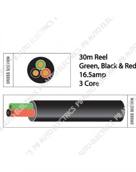 Auto Marine 30m Black Red Green Thin Wall 16.5 amp 3 Core Auto Cable Round Black – TW03/01