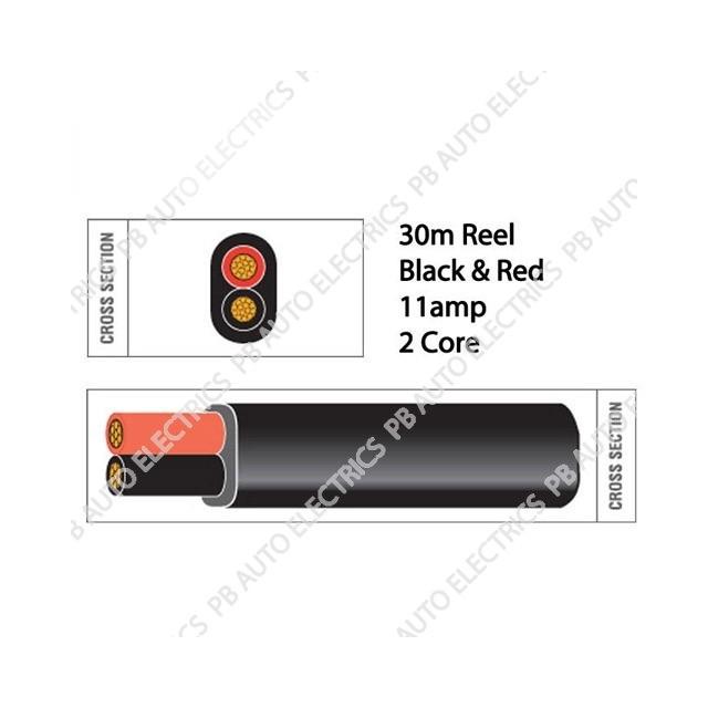Auto Marine 30m Black & Red Thin Wall 11amp 2 Core Auto Cable Flat Twin Black Sheath – TW02/06