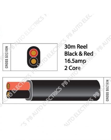 Auto Marine 30m Black & Red Thin Wall 16.5 amp 2 Core Auto Cable Flat Twin Black – TW02/01