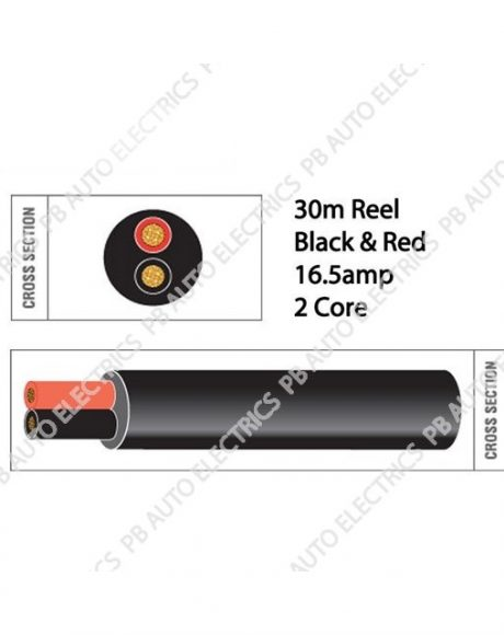 Auto Marine 30m Black & Red Thin Wall 16.5 amp 2 Core Auto Cable Round Twin Black – TW02/03