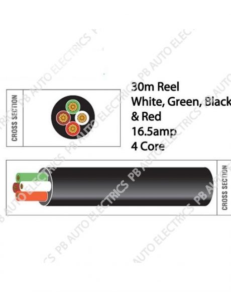 Auto Marine 30m Brown Red Green White Thin Wall 16.5 amp 4 Core Auto Cable Round – TW04/01