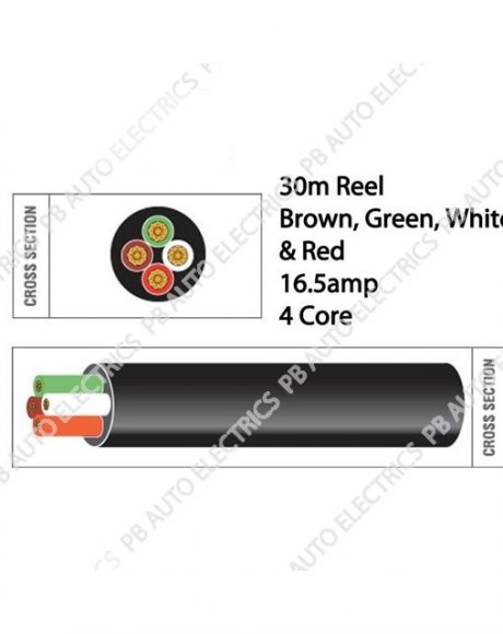 Auto Marine 30m Brown Red Green White Thin Wall 16.5 amp 4 Core Auto Cable Round – TW04/02