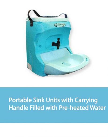 Portable Sink Units with Carrying Handle Filled with Pre-heated Water
