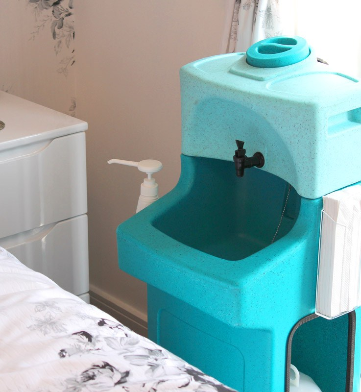 Teal Washstand Mobile Warm Water Portable Handwash Sink